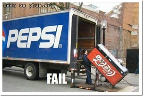 Pepsi fail | Coca-cola machine is loaded to a Pepsi truck.