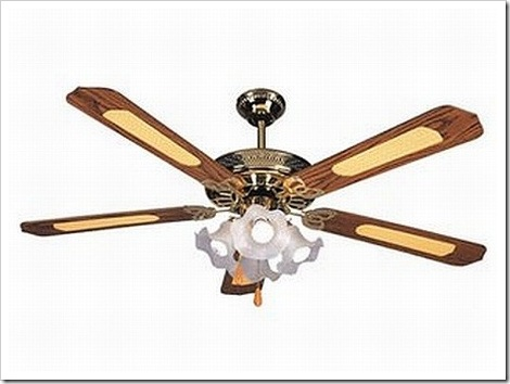 Ceiling Fan with five blades and four lights.