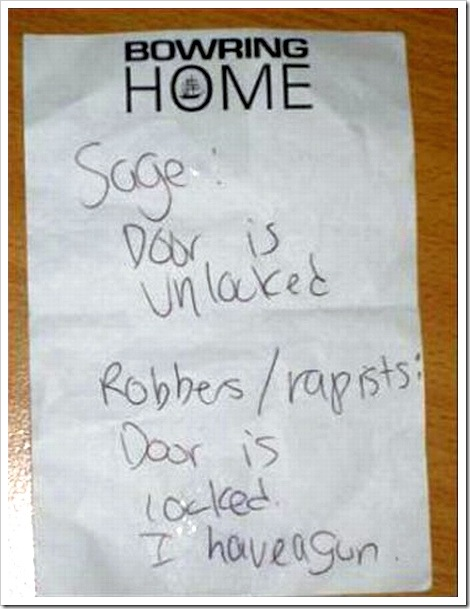 Home Security System Fail | Door is unlocked - Door is locked funny sign.