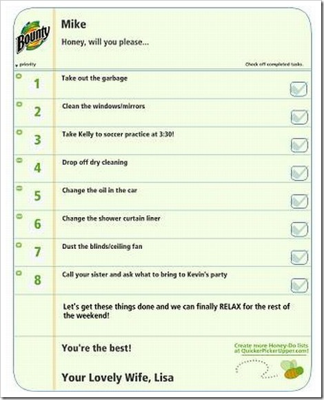 Funny To Do Lists | The Honey to do list.