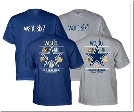 shirts and another using the Dallas Cowboys star as a target with blood on