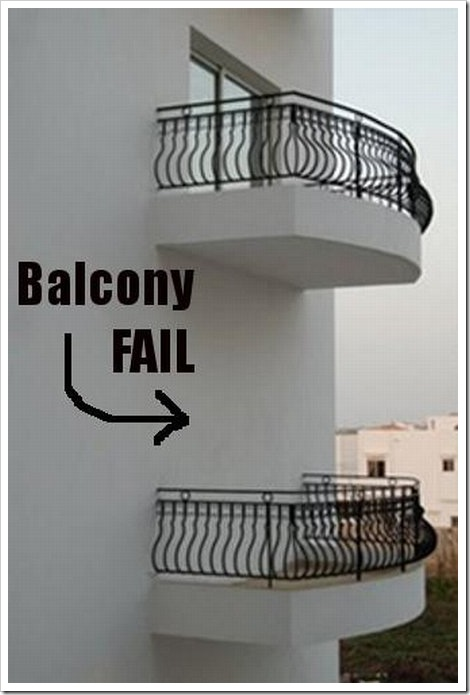 Funny balcony fail picture.