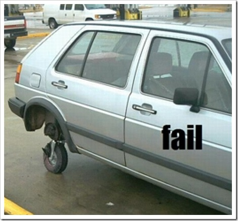 Funny car picture | Car with a little wheel instead of a tire
