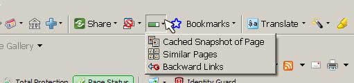 Screenshot of Google Toolbar showing a Page Rank drop menu