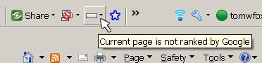 Screenshot of Google Toolbar showing a Page Rank of none