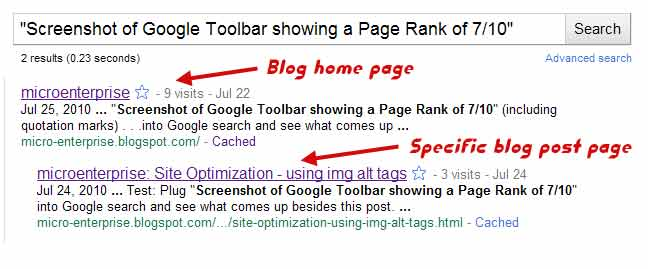 SEO experiments example 1