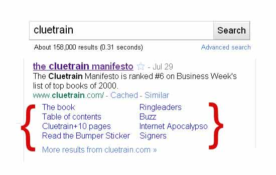 Screenshot of Google search results for term: cluetrain. 550px