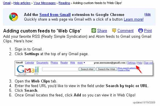 Screenshot of Google Gmail WebClips setup procedure