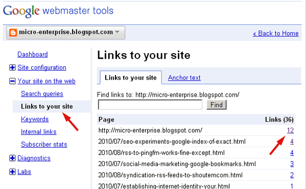 Screenshot of Google Webmaster Tools *Links to Your Site* Page