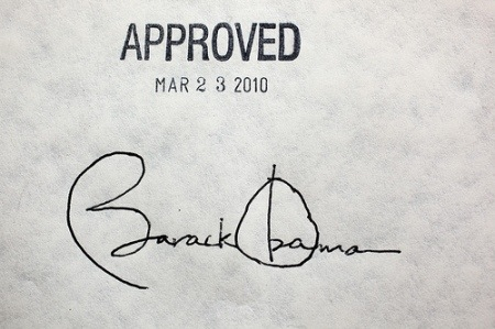 Obama's signature on health care bill