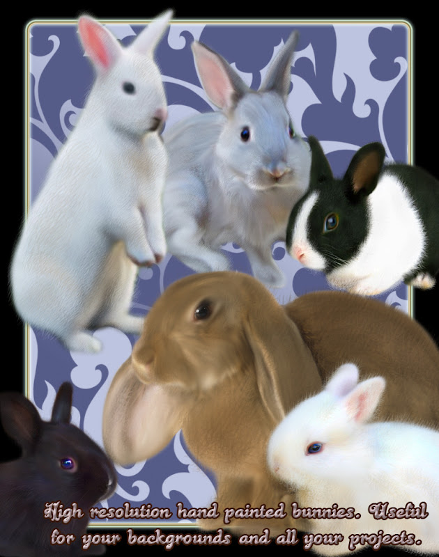 hand painted bunnies rabbits easter backgrounds png scrapbooking
