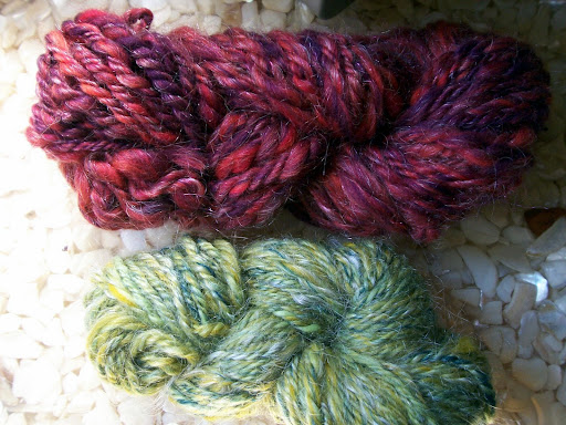 Navajo plyed yarn made from hand-blended batts from the Fiber Studio in Minneapolis