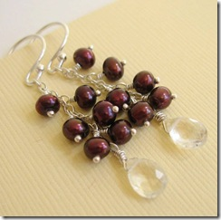 Crystal Briolette and Brown Pearl Earrings 4