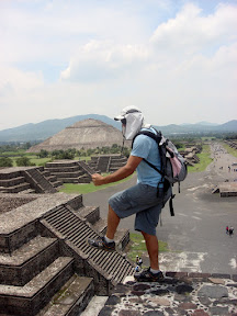 Joshua climbing the stairs at Teotihuacan