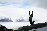 Joshua Victory Jump at Summit Above Glacier Grey on Circuit Hike (Torres Del Paine, Chile)