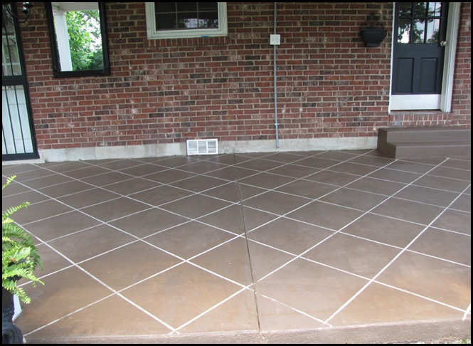 Beneath my heart new tile patio floor reveal and for How to clean scored concrete floors