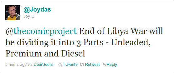 End of Libya War will be dividing it into 3 parts - Unleaded, Premium and Diesel
