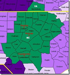 Map of Raleigh-Durham-(Fayetteville) DMA