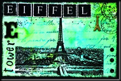 E for embossed Eiffel Tower with Eyelets