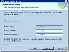 vCenter Service Credentials