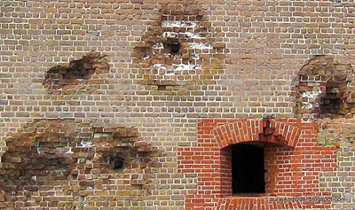 Some cannon balls are still lodged in the fort's walls.