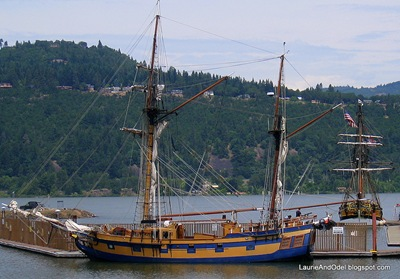 The Lady Washington and Hawaiian Chieftain at the dock in Hood River
