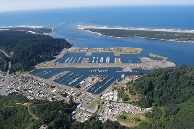 Aerial view of Winchester Bay (foreground) and the Salmon Harbor Marina