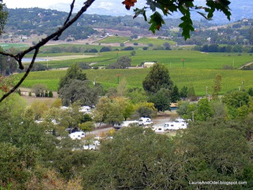 View of the campsites from a hillside trail