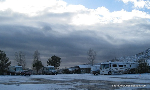 Queen Mine RV Park in snow.