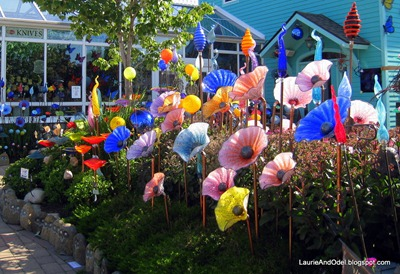 A garden of glass flowers in Sutton's Bay.