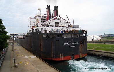 Freighter leaving the locks.