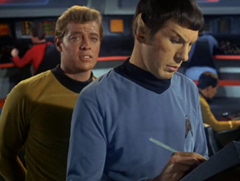 Leslie, Bailey, Spock, Harrison, Sulu