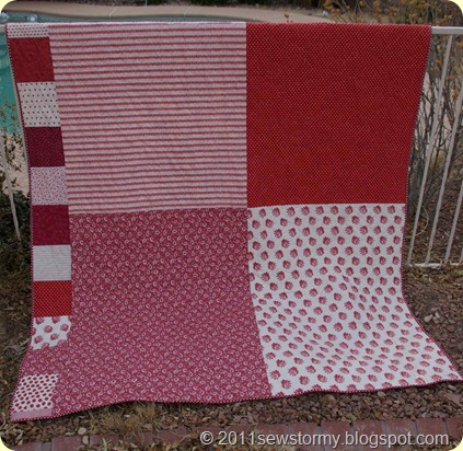 red and white quilt back