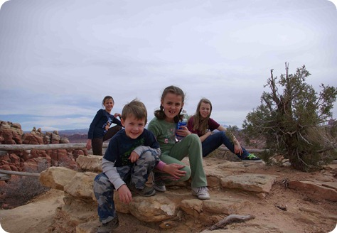 Kids at Arches National Park
