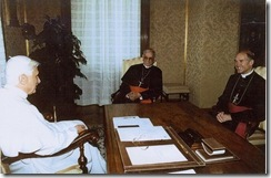 Pope Benedict XVI and Bishop Fellay at August 29, 2005