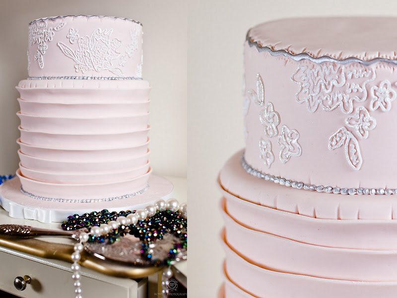 Two Layer Pink and Silver Couture Wedding Cake