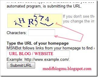 submit blog web URL ke bing msn