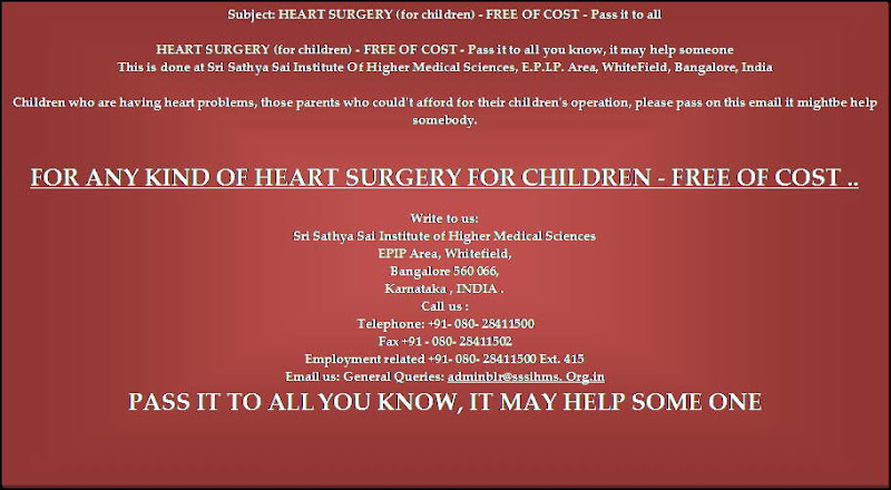 FREE HEART SURGERY (children only) ....It might help someone