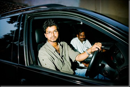 Vijay in his black BMW
