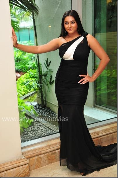 Namitha strikes a pose in the black & white dress designed by Sidney Sladen