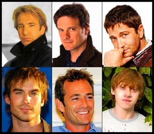 Cima: Alan Rickman, Colin Firth, Gerard Butler; baixo: Ian Somerhalder, Luke Perry e Rupert Grint.