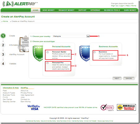 2. Create an AlertPay Account