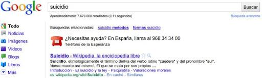 Búsqueda Google «suicidio»