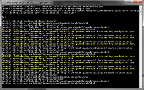 CreateSitesFromCSV_Output