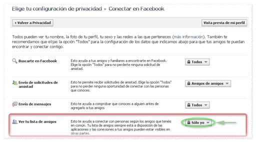 Configurar Privacidad de Lista de Amigos Facebook