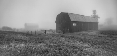 Barns in the fog-Edit