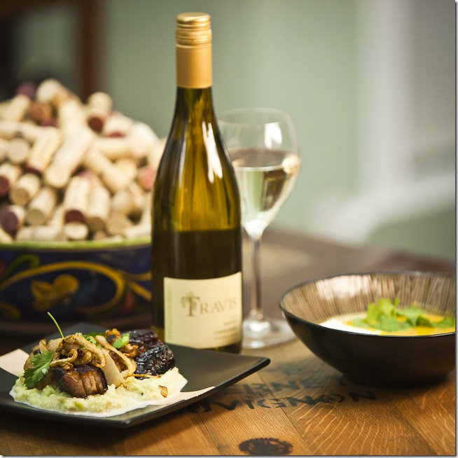 2009 Travis Chardonnay with Pork Belly Broccoflower puree and curried butternut squash soup