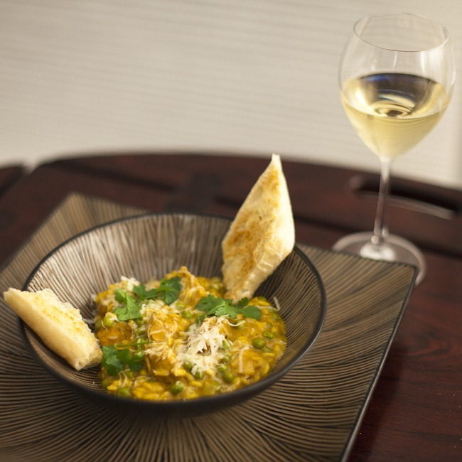 Curried Pumpkin Risotto with Chicken and Peas Paired with 2008 Cuvée De Peña Viognier