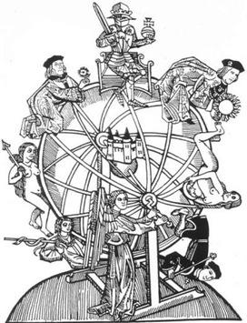 """imagem: """"Divided York e Lancaster,"""" Painel de exposição descrevendo a história da Guerra das Rosas. Adaptado de Entretenimento e Ritual 600-1600, Peter A. Bucknell (Londres, Stainer & Bell, Ltd., 1979)."""