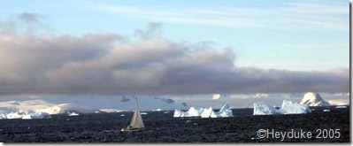 sailboat and bergs